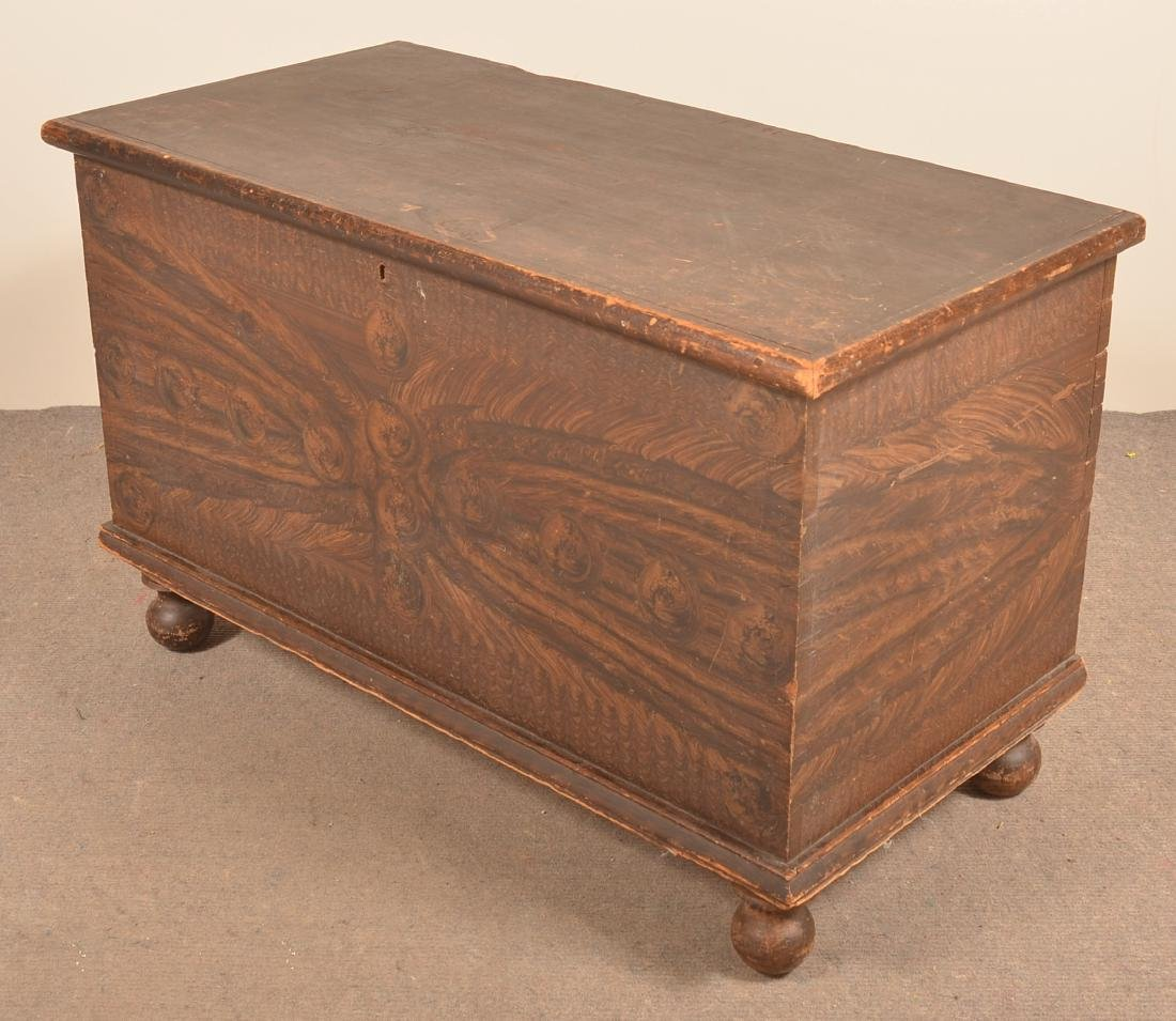 PA Grain Paint Decorated Softwood Blanket Chest. - 3