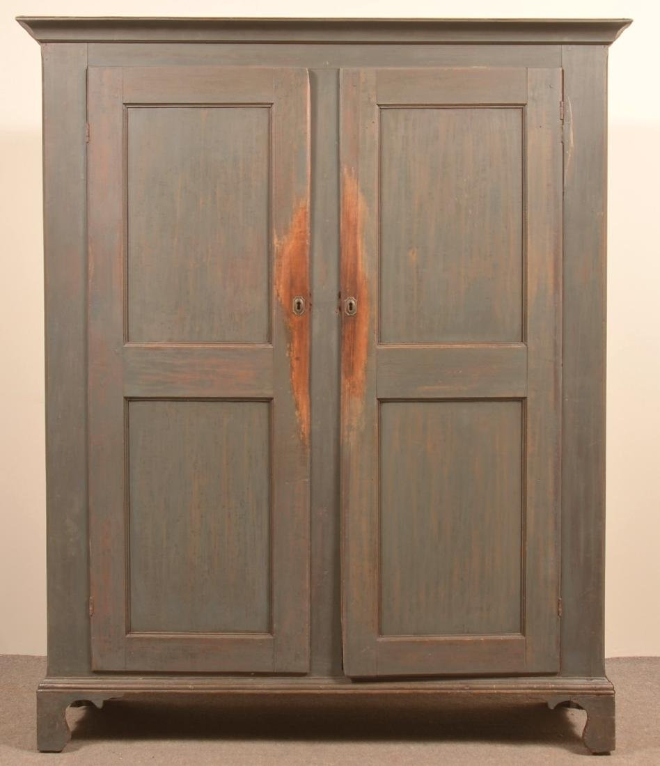 PA Early 19th Century Blue Softwood Stauschrank.