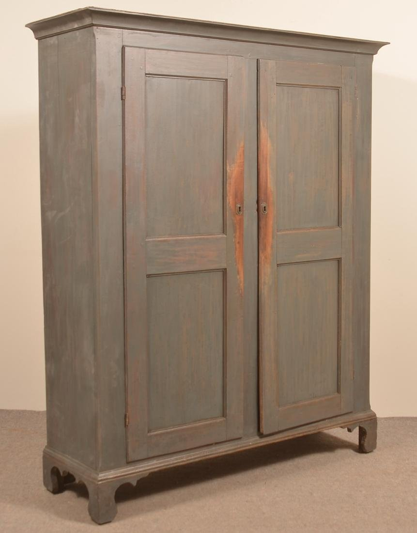 PA Early 19th Century Blue Softwood Stauschrank. - 2