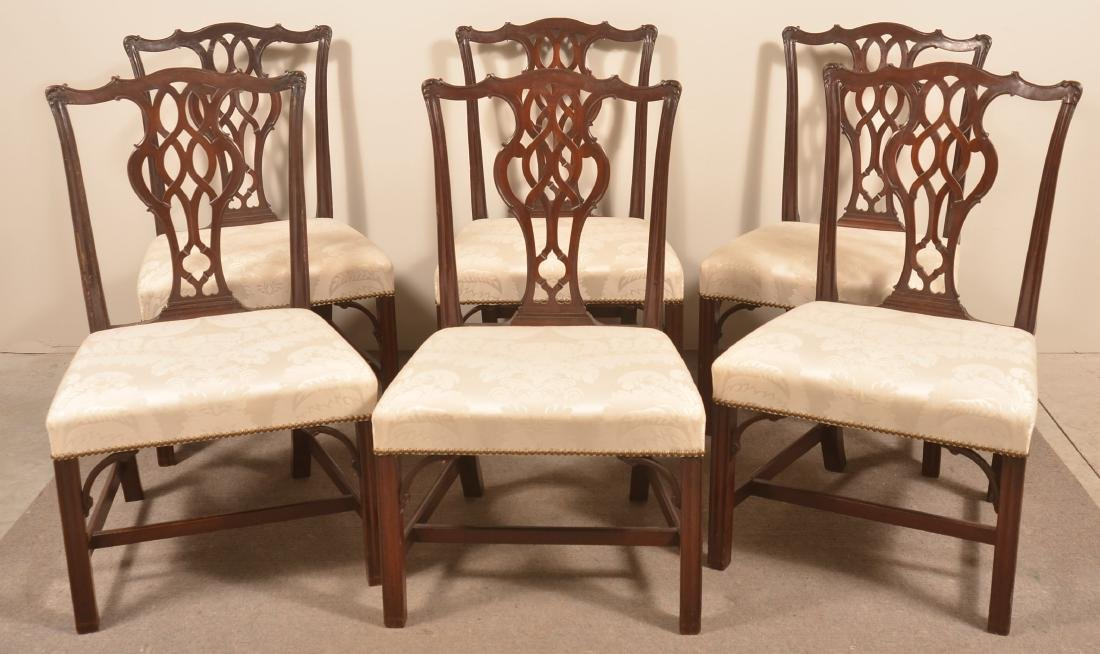 Set of Six Chippendale Style Mahogany Dining Chairs