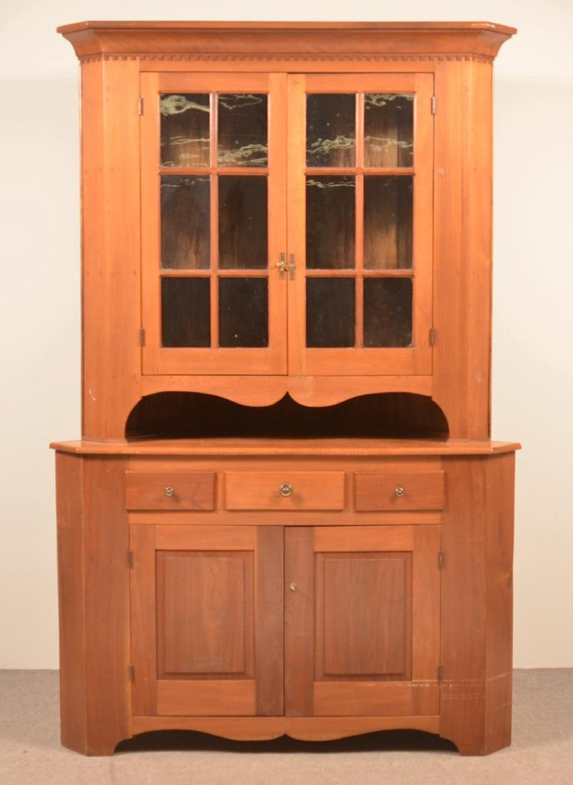 PA Early 19th Century Walnut Two Part Corner Cupboard.