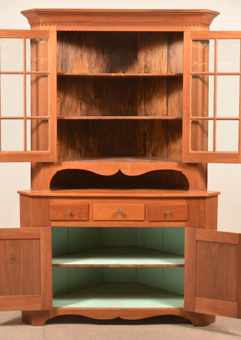 PA Early 19th Century Walnut Two Part Corner Cupboard. - 2