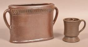 Two Pieces of Brown Glazed Stoneware.