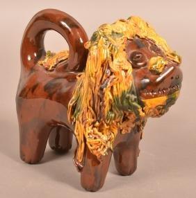 Large Breininger Redware Pottery Lion Figure.