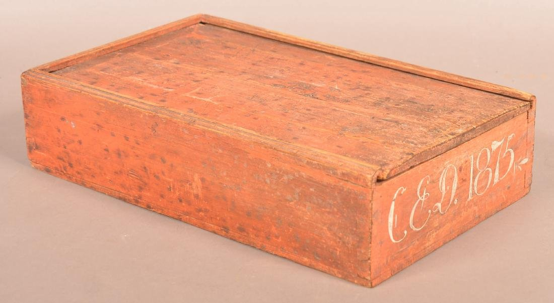 Red Softwood Smoke Decorated Slide Lid Box.