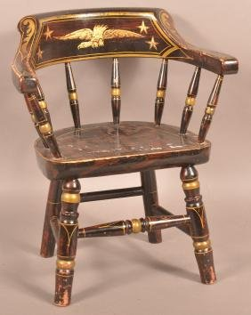 Antique Child's Paint Decorated Captains Chair.