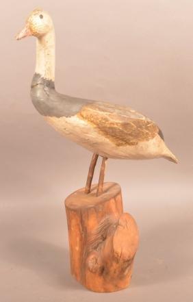 Vintage Folk Art Carved and Painted Goose.