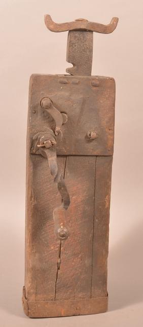 1847 Iron and Wood Conestoga Wagon Jack.