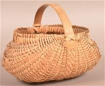 PA 19th Century Woven Oak Splint Egg Basket.