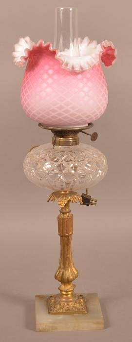 Antique Fluid Lamp with Quilted overlay Shade.