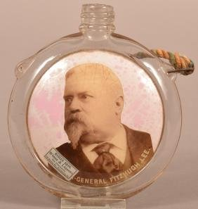 Colorless Glass Canteen Portrait Flask.