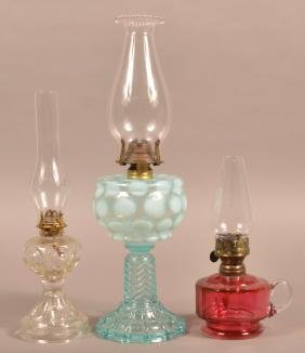 Three Various Glass Fluid Lamps.