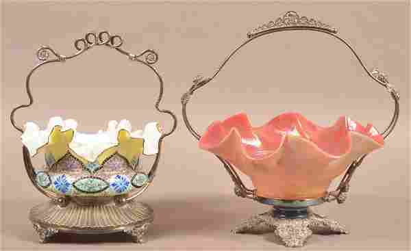 2 Brides Baskets with Silverplate Receptacles.