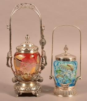2 Glass Pickle Castors with Silverplate Receptacles.