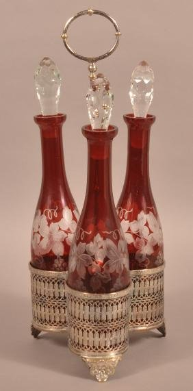 Three Piece Ruby Bohemian Glass Decanter Set.