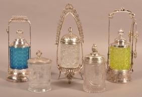 Five Various Antique Pattern Glass Pickle Castors.