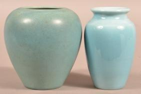 2 Rookwood Art Pottery Small Blue Glazed Vases.