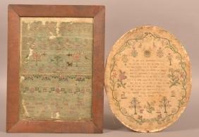 1748 and 1809 Needlework Samplers.