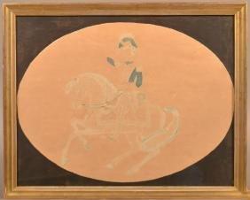 Watercolor & Ink Washington on Horseback.