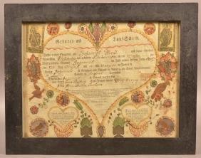 Frederick Krebs Birth and Baptismal Certificate.