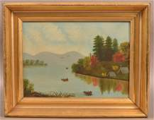 Oil on Canvas Lake and Landscape Painting.