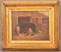 Small Oil on Canvas Painting of a Barnyard Scene.