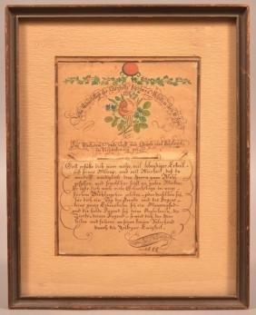 1817 Birthday Presentation Fraktur.