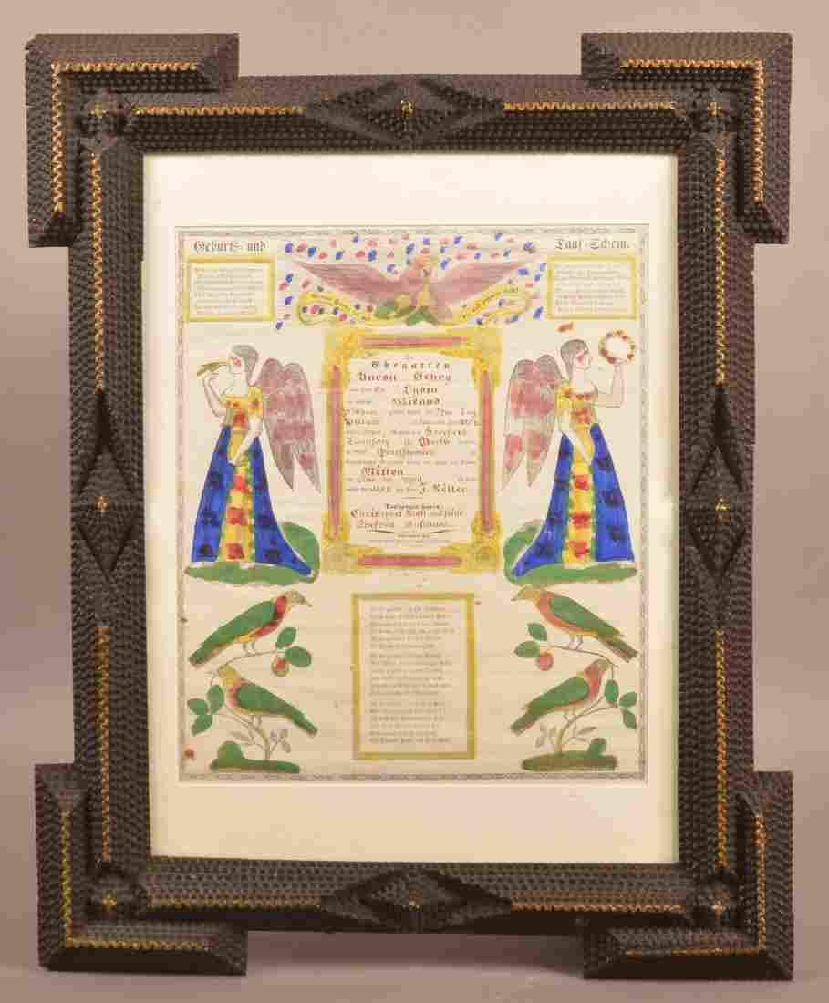 Antique Tramp Art Framed Taufschein.