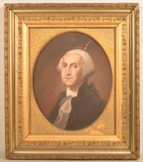 Pastel on Paper portrait of George Washington.