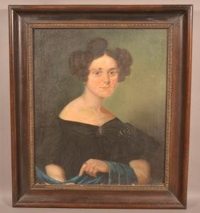 19th Century Oil on Canvas Portrait of a Woman.