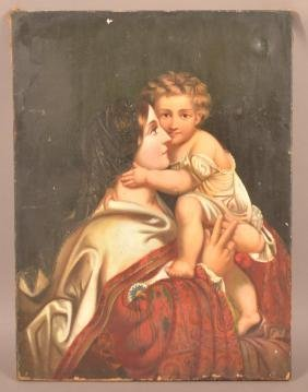 Oil on Canvas Madonna and Child Painting.