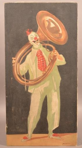 Oil on Canvas Painting of a Clown Playing a Tuba.