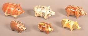 Lot of Six Glazed Pottery Pig Form Still Banks.