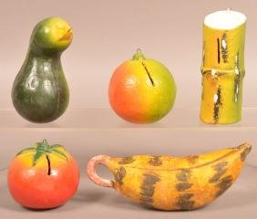 5 Cold-Painted Pottery Fruit/Plant Still Banks.