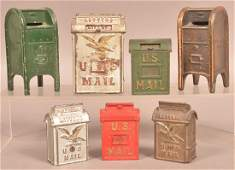 7 Cast Iron  Spelter Metal Mail Box Still Banks