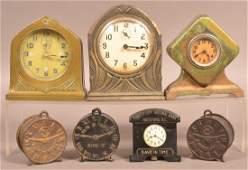 7 Cast Iron & Spelter Metal Clock Still Banks.