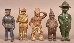 Five Cast Iron Figural Still Banks.