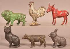 Six Antique Cast Iron Animal Figural Still Banks