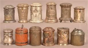 12 Various Metal Antique Stein Form Still Banks