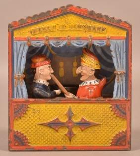 Punch & Judy Cast Iron Mechanical Bank.
