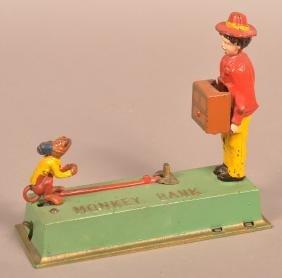 Hubley Cast Iron Monkey Mechanical Bank.
