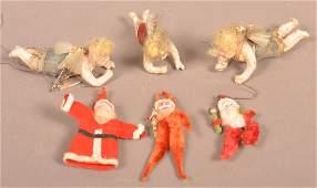 Six AntiqueVintage Christmas Tree Ornaments