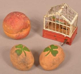Tin Wind-Up Bird in Cage & 3 Candy Containers.