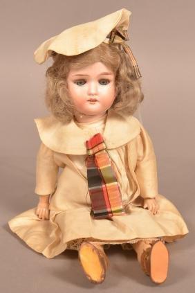Antique German Bisque Head Girl Doll.