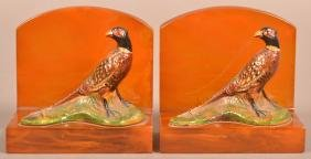 Hubley Cast Iron Ring-neck Pheasant Bookends.