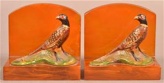 Hubley Cast Iron Ringneck Pheasant Bookends