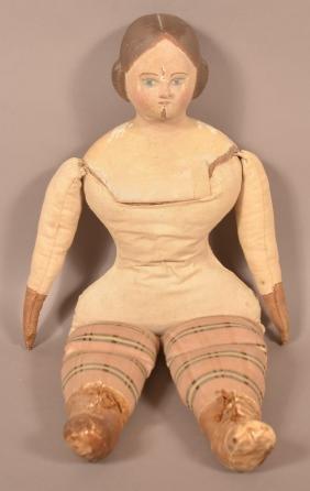 American 19th Century Folk Art Doll.