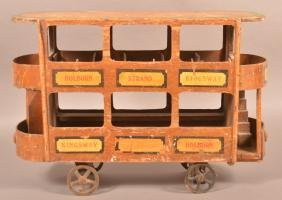 Folk Art Double Decker Trolley Toy.