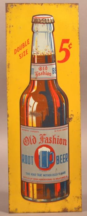 """""""Old Fashion Root Beer"""" Tin Lithograph Sign."""