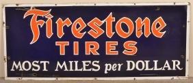 Firestone Tires 3 Color Porcelain Advertising Sign.
